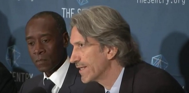 Actors George Clooney and Don Cheadle unveil a report into and corruption in South Sudan's civil war.