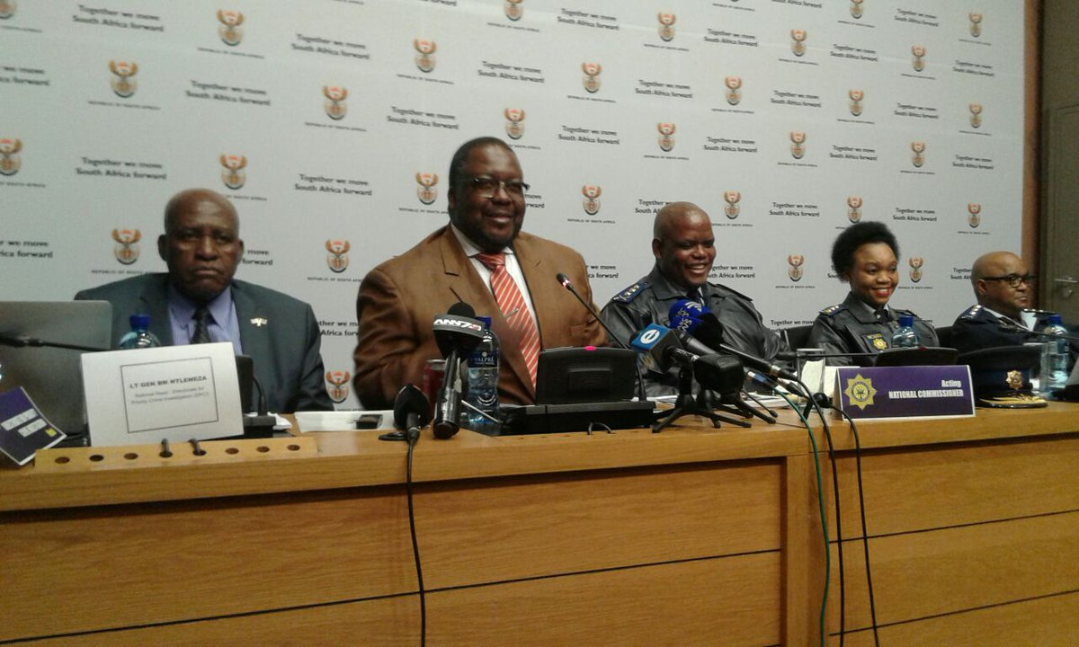 Ministry of Police Mr Nhleko and Acting NPC Lt Gen Phahlane addressing media in parliament  on crime
