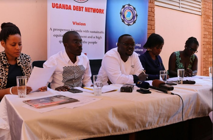 CSOs address the press in Kampala. Picture Caption(L-R) Evas Kanyesigye, Julius Kapwepwe,Arthur Larok, Cissy Kagaba and Sarah Pacutho