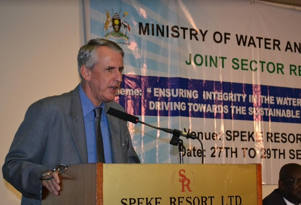 German ambassador, H.E Peter Blomeyer  speaking at the joint sector review