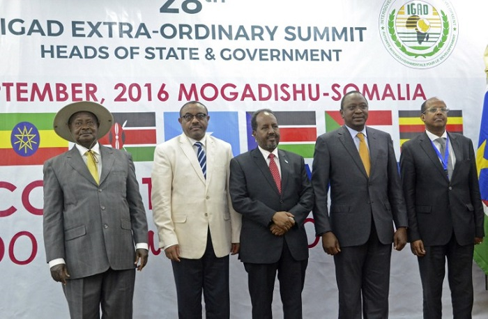 From left: Uganda's President Yoweri Museveni, Ethiopia's Prime Minister Hailemariam Desalegn, Somalia's President Hassan Sheikh Mohamud, Kenya's President Uhuru Kenyatta, Djibouti's Foreign Minister Mahamoud Ali Youssouf, pose for a group photograph during the regional Intergovernmental Authority on Development (IGAD) summit at the Peace Hotel in Mogadishu. AFP PHOTO