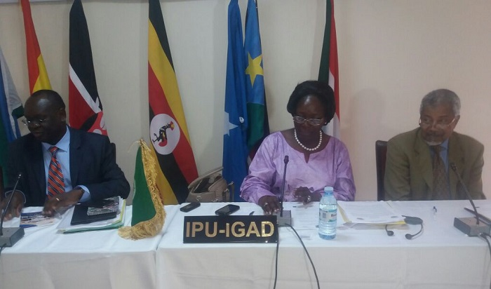 Left-Right, the speaker of the Transitional National Legislative Assembly of South Sudan,Hon.Anthony Lino Makana, The speaker of Uganda Parliament Rebecca Kadaga and the Secretary General of IPU-IGAD H.E Mohamed Adam Mohamed Ismail at the final day of the 2 day conference in Kamuli