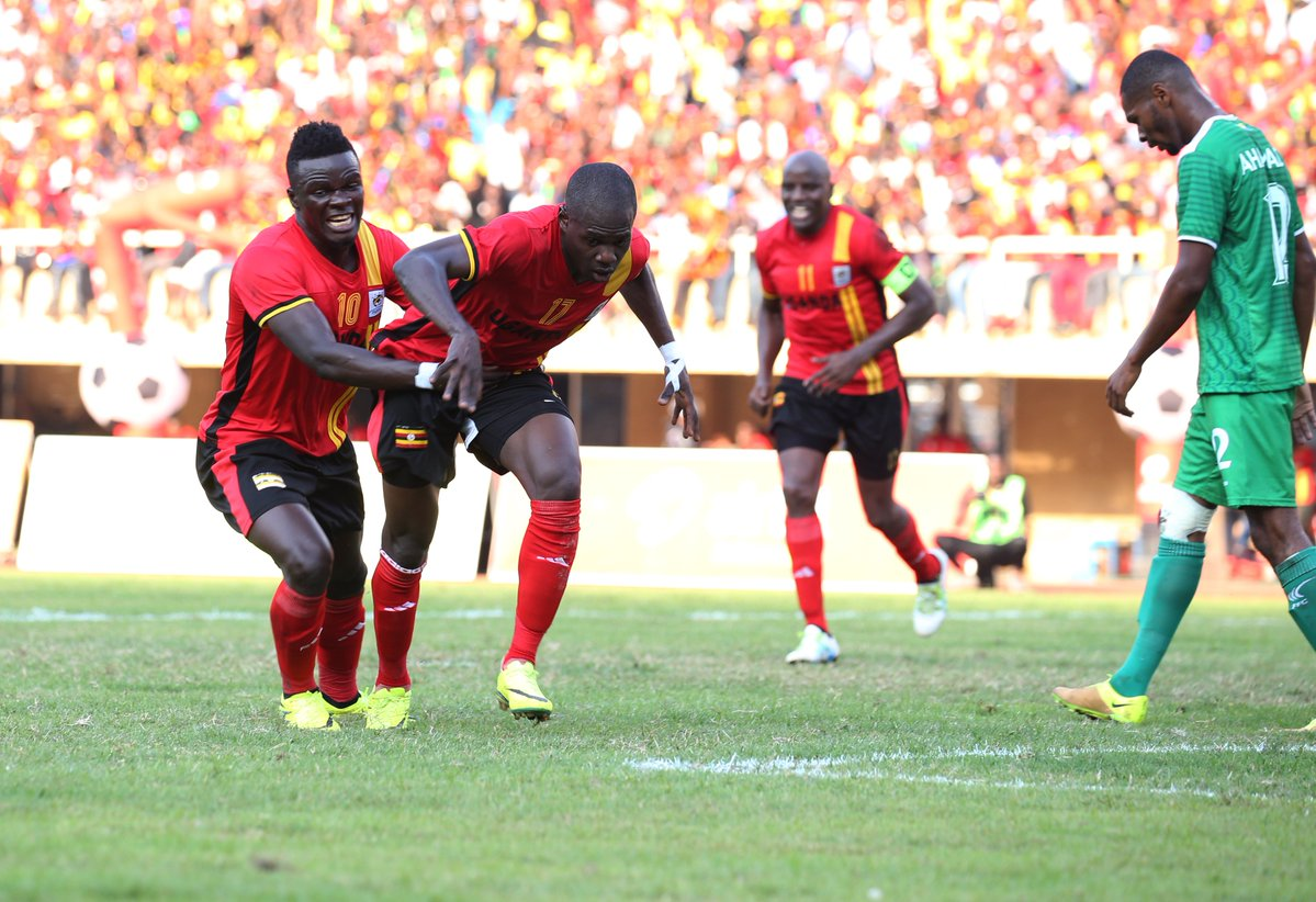Miya celebrates his goal that brought Ugandans unprecedented joy. PHOTOS COURTESY OF KCCA AND FUFA