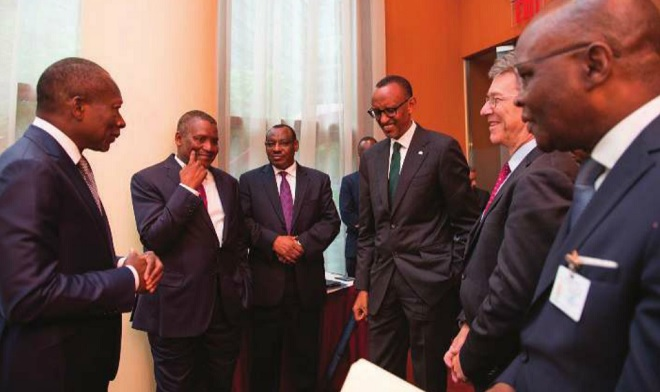 President Kagame, President Patrice Talon of Benin (L), Jeffery Sachs (2nd R) Finance minister Claver Gatete (3rd L), and Nigerian tycoon Aliko Dangote (2nd L). Courtesy photo