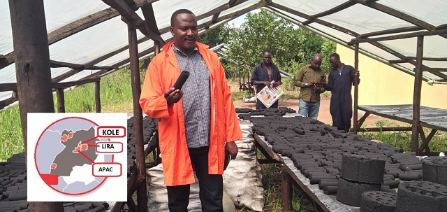 Making sludge briquettes at the Decentralized Feacal Sludge Treatment plant in Kole district. COURTESY PHOTO
