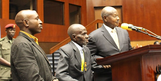 President Museveni introducing the older generation of MPs