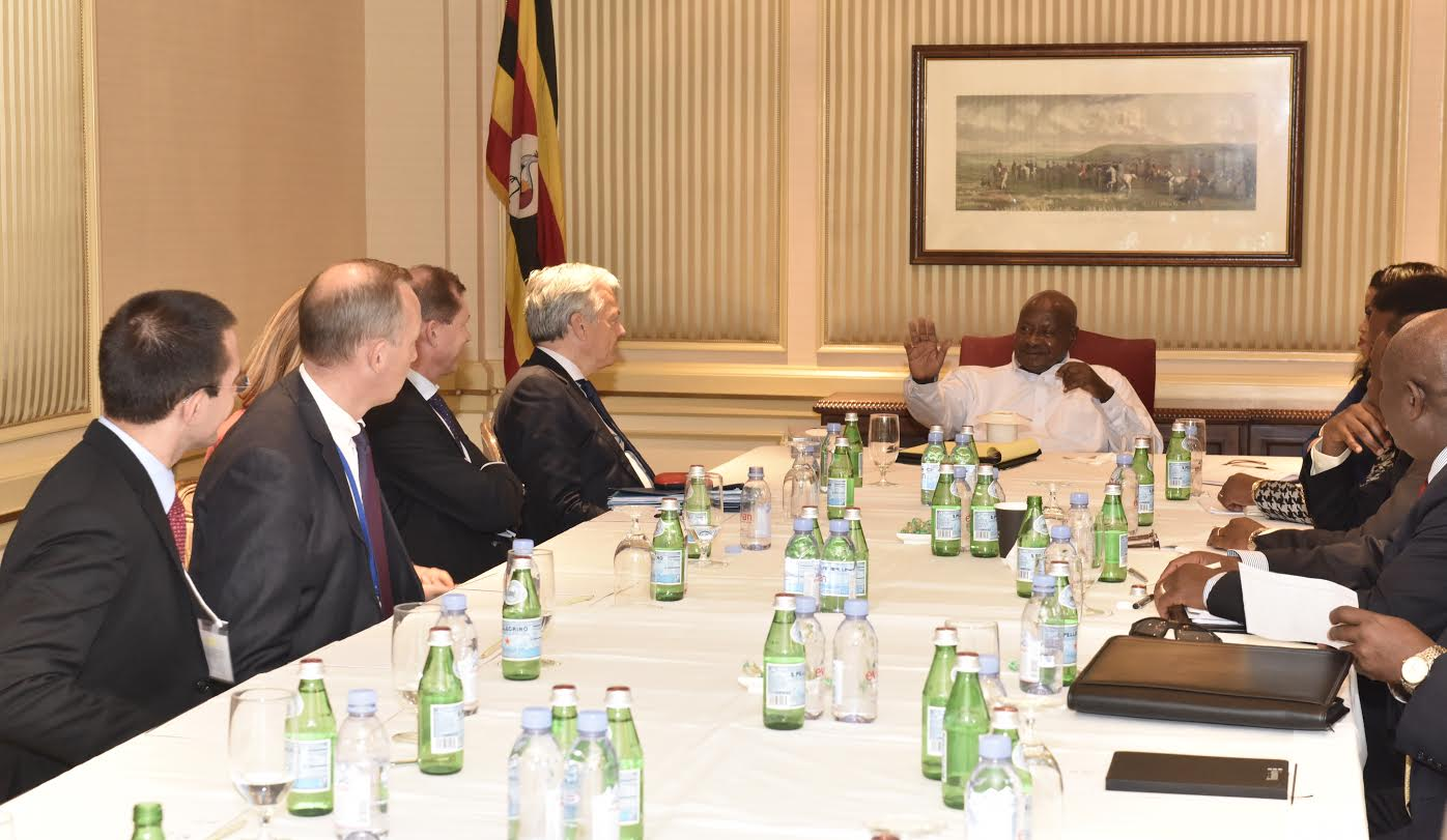 Museveni meets Didier Reynders in New York. PHOTO PPU