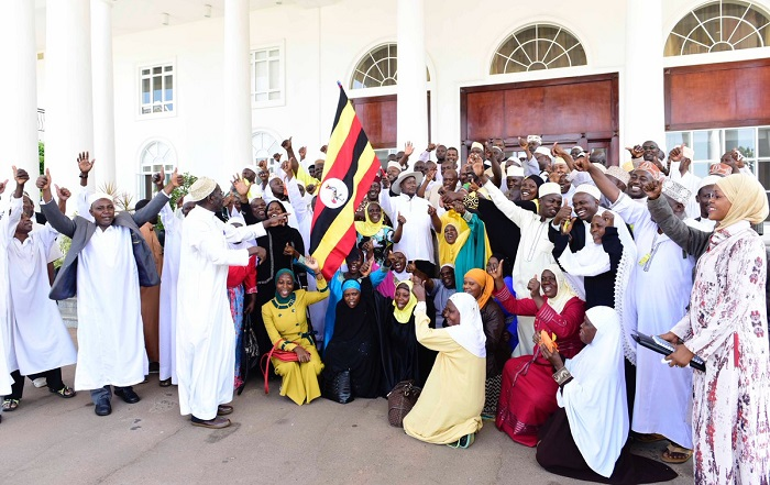 President Museveni seeing off a contingent of 92 pilgrims headed to Mecca for hajj. The trip he co-sponsored with Sudan president Omar al-Bashir. PPU PHOTO