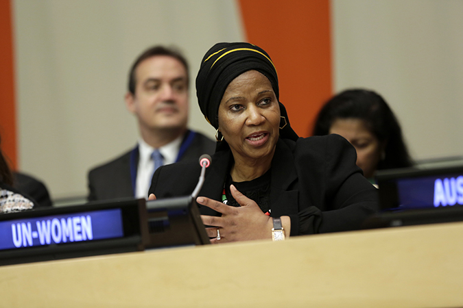 "UN Women Executive Director Phumzile Mlambo-Ngcuka speaks at the launch of the ""Making Every Woman and Girl Count"" initiative. Photo: UN Women"