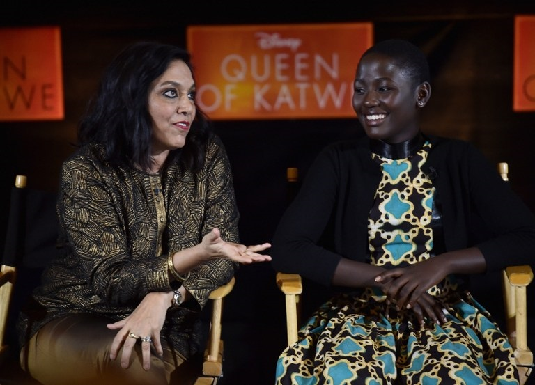 CENTURY CITY, CA - SEPTEMBER 19: Director Mira Nair and actress Madina Nalwanga attend a Live Q&A with the cast and director of Disney's 'Queen of Katwe' that reaches fans around the globe at AMC Theaters on September 19, 2016 in Century City, California.   Alberto E. Rodriguez/Getty Images for Disney/AFP