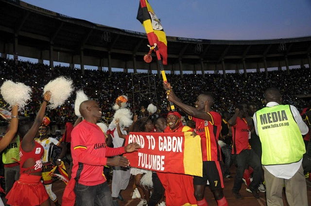 Ugandans celebrate qualification. FUFAMEDIA PHOTO