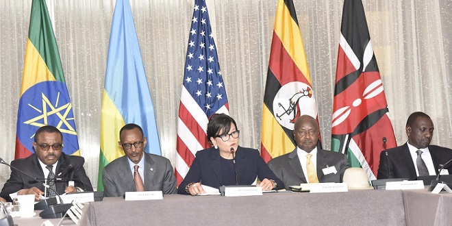 US Secretary of Commerce Penny Pritzker addresses East African leaders. PHOTO PPU
