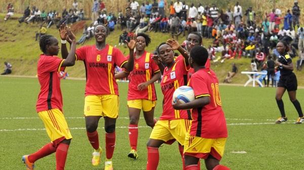 Uganda celebrates their 9-0 win in the ongoing CECAFA women's football tournament. PHOTOS FUFA MEDIA