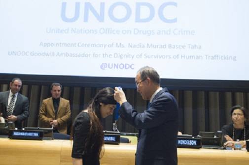 Nobel Peace Prize nominee Nadia Murad Basee Taha, who survived trafficking at the hands of ISIL, was appointed as UNODC (UN Office on Drugs and Crime) Goodwill Ambassador for the Dignity of Survivors of Human Trafficking, at a ceremony held at UN headquarters.