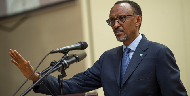 Paul Kagame speaking in Kigali today