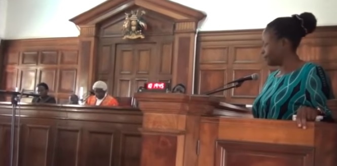 Sarah Nabikolo Sebunya testifies earlier in the case. She has today been acquitted