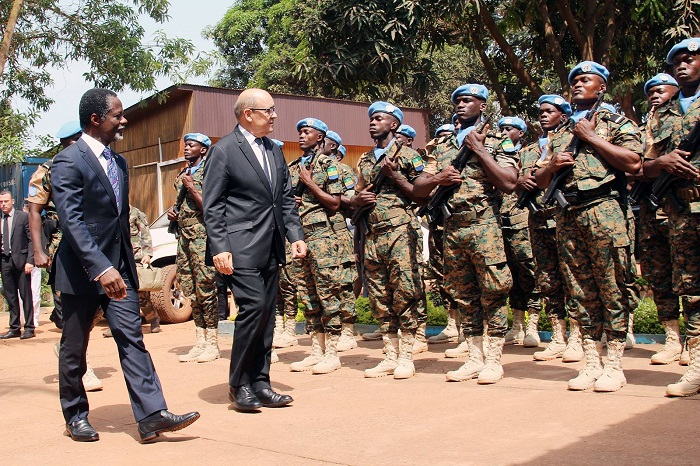 The Special Representative of the Secretary-General of the #un in #Central African Republic, perfect onanga received Monday at the headquarters of the minusca, the French Minister of defence, Jean-Yves Le Drian