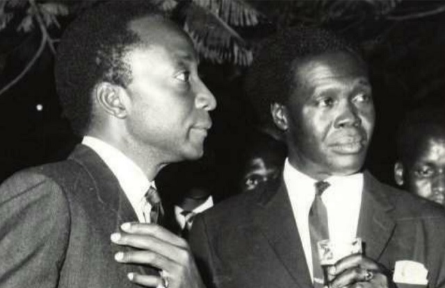 Then-Kabaka of Buganda Frederick Mutesa and then-Prime Minister Milton Obote.
