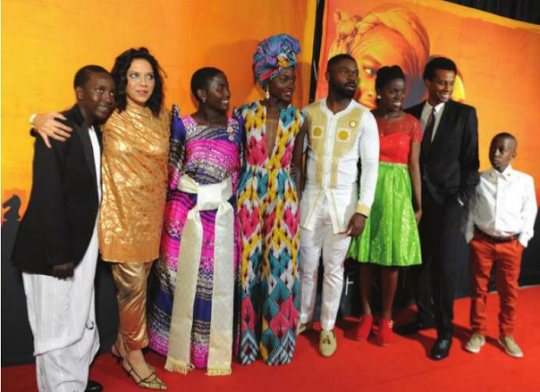 The cast of the movie 'Queen of Katwe' at the premiere at Century Cinema, Acacia Mall in Kampala. Independent /Jimmy siya