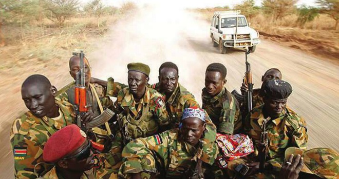 Soldiers in South Sudan prepare for battle. Courtesy Photo