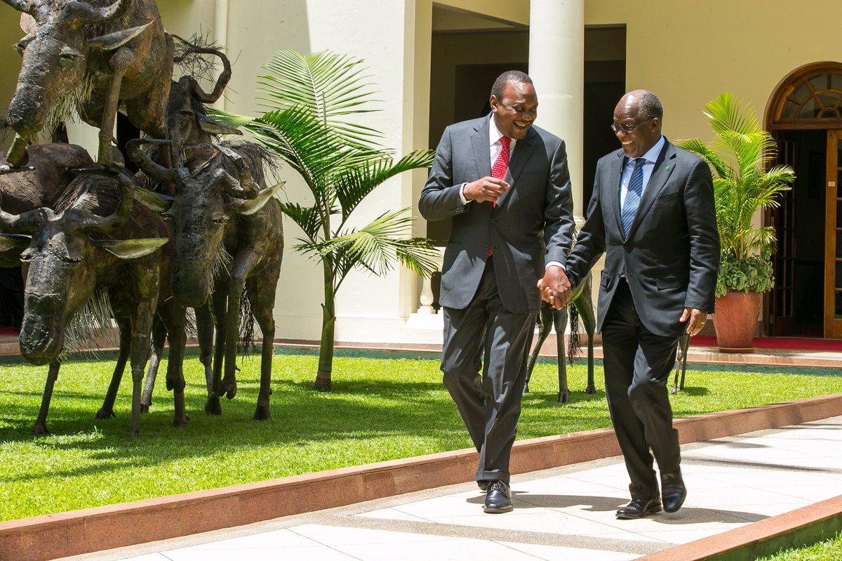 Kenyatta (left) and Magufuli