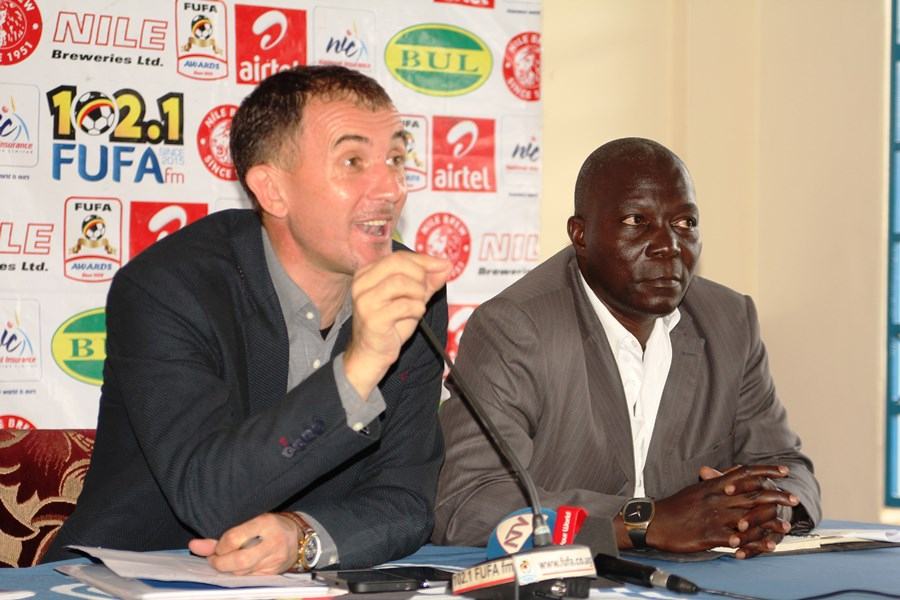 oach Micho and his assistant Moses Basena during the press conference at Mengo on Wednesday. PHOTO FUFA MEDIA