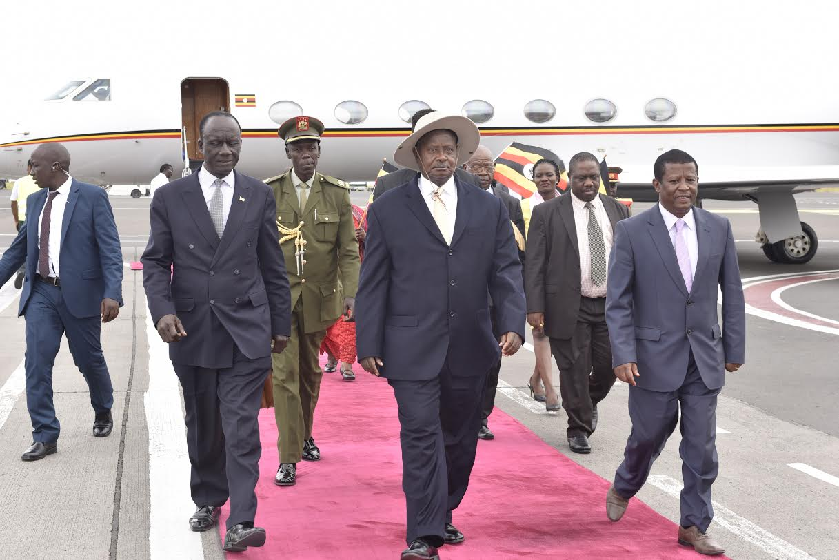 The President was received at Bole International Airport by Ethiopia's Chief of Protocol Mesfin Mideksa, Uganda's Minister of Defence Adolf Mwesigye, Minister of State for Regional Cooperation Dr. Philimon Mateke, Uganda's Ambassador to Ethiopia Mull Katende and Uganda's Military Attaché to Ethiopia Brig. Sam Kiwanuka.