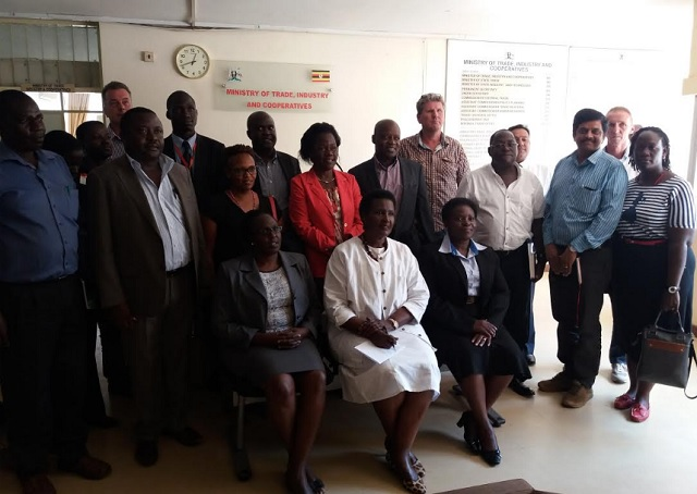 Amelia Kyambadde poses with some of the stakeholders in the horticultural industry and officials from the ministries of trade and labour