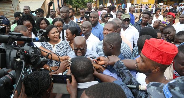 Akufo-Addo talks to the press