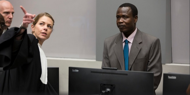 Ongwen being directed at the ICC trial today.