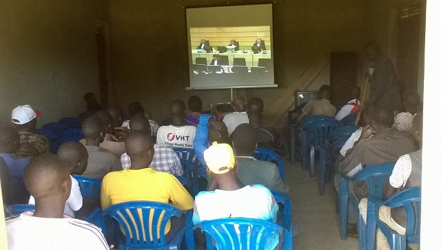 ICC Outreach: Opening of ICC Ongwen trial broadcasted in Odek Uganda. PHOTOS ICC