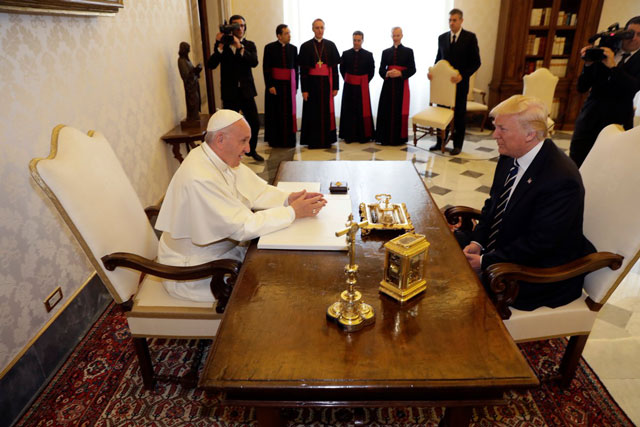 Setting aside past rude talk, Trump and Pope Francis focus on peace