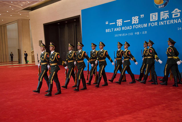 Officials arrive at One Belt - One Road Summit venue in Beijing