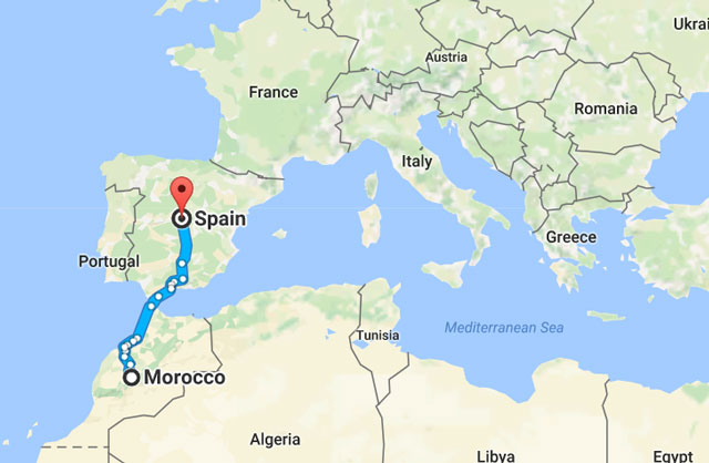 Map Of Spain Morocco.Boy Travels From Morocco To Spain Under Bus