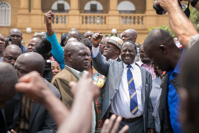 Odinga celebrates after the court verdict