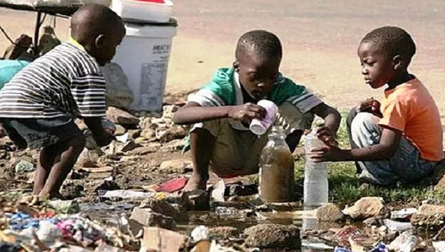 Children Drinking Dirty Water