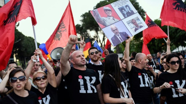 IMG ALBANIA PROTESTERS