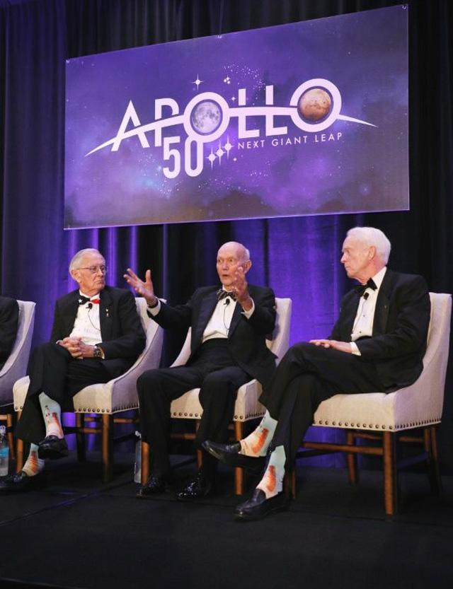 ad934247b1fd7 Apollo 11 astronaut Michael Collins (C) Apollo 16 astronaut Charlie Duke  (L) and Apollo 9 astronaut Rusty Schweickart, at the 'Legends of Apollo'  event in ...